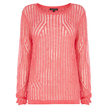 Buy Warehouse Linen Blend All Over Mesh Geo Jumper, Bright Pink Online at johnlewis.com