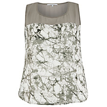 Buy Chesca Printed Chiffon Trim Top, Khaki Online at johnlewis.com