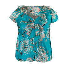 Buy Chesca Floral Print Top, Turquoise Online at johnlewis.com