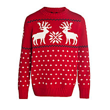 Buy Gant Boys Reindeer Crew Neck Jumper, Red Online at johnlewis.com