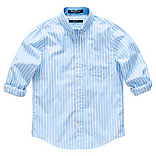 Buy Gant Boys' Stripe Poplin Shirt, Light Blue Online at johnlewis.com