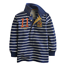 Buy Little Joule Boys' Hugh Stripe Rugby Jersey, Navy Online at johnlewis.com