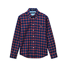 Buy Gant Boys' Long Sleeve Checked Shirt, Red/Blue Online at johnlewis.com