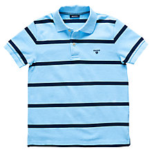 Buy Gant Boys' Short Sleeve Breton Stripe Polo Shirt, Light Blue Online at johnlewis.com
