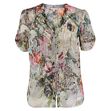 Buy Chesca Fern Print Pintuck Shirt, Silver Grey/Multi Online at johnlewis.com