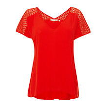 Buy Wishbone Taylor Lace Top, Mid Red Online at johnlewis.com