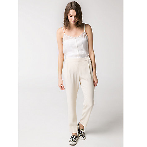 Buy Mango Lightweight Trousers, Natural White Online at johnlewis.com