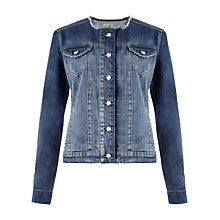 Buy Jigsaw Collarless Denim Jacket, Indigo Online at johnlewis.com