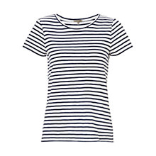 Buy Jigsaw Slub Stripe T-shirt, Navy Online at johnlewis.com