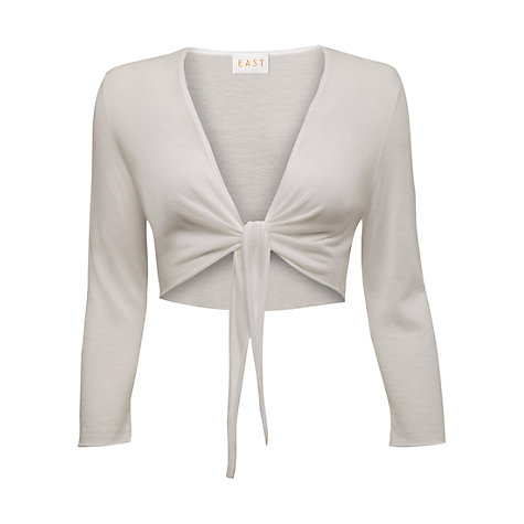 Buy East Tie Front Shrug, White Online at johnlewis.com