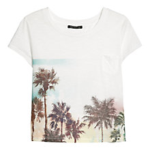 Buy Mango Palm Tree Print Cropped T-Shirt, White Online at johnlewis.com