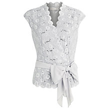 Buy Jacques Vert Sequin & Lace Cross Over Top, Dove Online at johnlewis.com