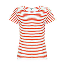 Buy Jigsaw Slub Stripe T-shirt, Flame Online at johnlewis.com
