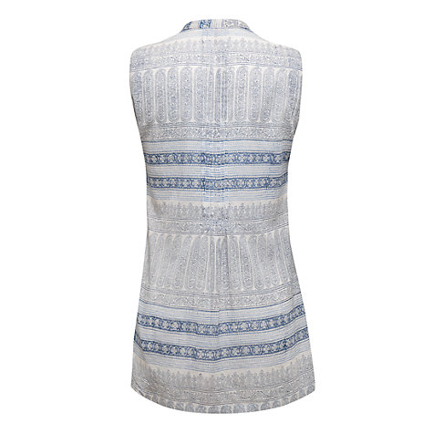 Buy East Tile Print Sleeveless Shirt, White Online at johnlewis.com