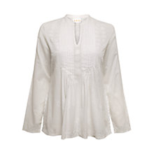 Buy East Embroidered Pintuck Blouse, White Online at johnlewis.com