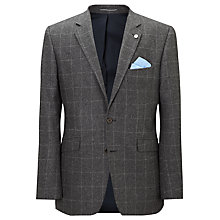 Buy John Lewis Melton Windowpane Tailored Wool Suit Jacket, Grey Online at johnlewis.com