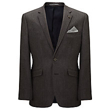 Buy John Lewis Wool & Silk Herringbone Jacket, Brown Online at johnlewis.com