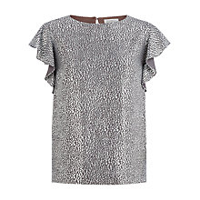 Buy Kaliko Metallic Frill Sleeve Blouse, Charcoal Online at johnlewis.com