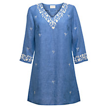 Buy East Cross Dye Linen Embroidered Kurta Top, Ocean Online at johnlewis.com