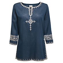 Buy East Salma Embroidered Kurta Top, Indigo Online at johnlewis.com