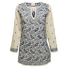 Buy East Floral Chikkan Kurta Top, Pearl Online at johnlewis.com