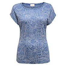 Buy East Paisley Linen Jersey Top, Ocean Online at johnlewis.com