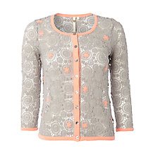 Buy White Stuff Crochet Melanitta Cardi, Cloud Grey Online at johnlewis.com