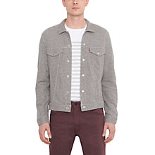 Buy Levi's French Terry Trucker Jacket, Grey Heather Online at johnlewis.com