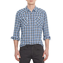 Buy Levi's Barstow Western Check Long Sleeve Shirt, Dutch Blue Online at johnlewis.com