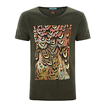 Buy Scotch & Soda Feather Print T-Shirt, Dusk Melange Online at johnlewis.com