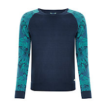 Buy Scotch & Soda Floral Sleeve Crew Neck Jumper, Navy Online at johnlewis.com