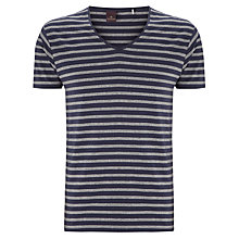 Buy Scotch & Soda Stripe V-Neck T-Shirt, Navy Marl Online at johnlewis.com