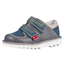 Buy Kickers Sneakerise Rip-Tape Shoes, Grey/Blue Online at johnlewis.com
