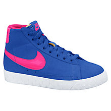 Buy Nike Childrens' Blazer Mid Vintage Trainers, Blue/Pink Online at johnlewis.com