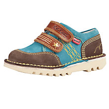 Buy Kickers Yeeha Rip-Tape Shoes, Brown/Blue Online at johnlewis.com