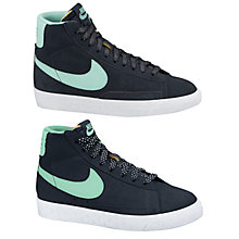 Buy Nike Childrens' Blazer Mid Vintage Trainers, Black/Mint Green Online at johnlewis.com