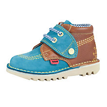 Buy Kickers Pirani Mock Lace Shoes, Blue/Brown Online at johnlewis.com