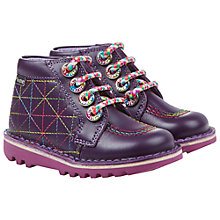 Buy Kickers Kick Zippy Lace-Up Shoes, Purple Online at johnlewis.com