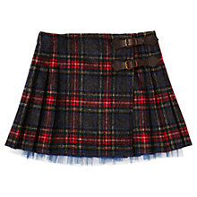 Buy Jigsaw Junior Girls' Brushed Tartan Kilt Skirt, Charcoal/Multi Online at johnlewis.com