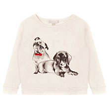 Buy Jigsaw Junior Girls' Dog Print Jumper, Grey Online at johnlewis.com