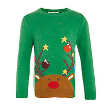 Buy John Lewis Boy Reindeer Christmas Jumper, Green Online at johnlewis.com