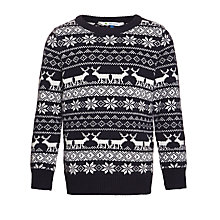 Buy John Lewis Boy Reindeer Crew Neck Jumper, Navy/White Online at johnlewis.com