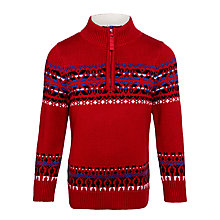 Buy John Lewis Boy Chunky Knit Snowflake Jumper, Red Online at johnlewis.com