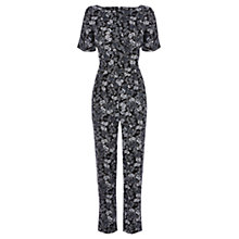 Buy Warehouse Floral T-Shirt Jumpsuit, Black Online at johnlewis.com