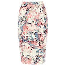 Buy Warehouse Scuba Floral Print Pencil Skirt, Multi Online at johnlewis.com