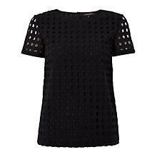 Buy Jaeger Broderie T-Shirt, Black Online at johnlewis.com