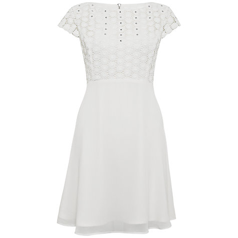 Buy French Connection Sparkle Sunflower Dress, Winter White Online at johnlewis.com
