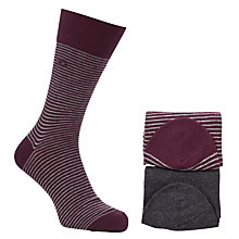 Buy Calvin Klein Stripe Socks, Pack of 2, Plum Online at johnlewis.com