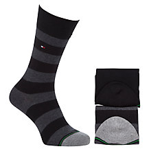Buy Tommy Hilfiger Rugby Stripe Socks, Pack of 2, Black Online at johnlewis.com