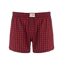 Buy Tommy Hilfiger Nugo Check Woven Boxers, Red Online at johnlewis.com